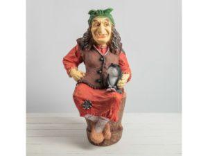 Баба Яга на ступе с кошкой Н-75 см