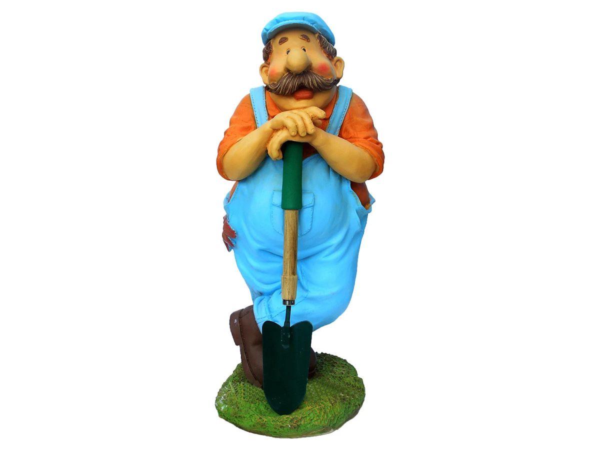 мужик с лопатой садовая фигура