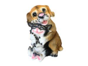 Собака с кошкой, декоративная интерьерная фигура