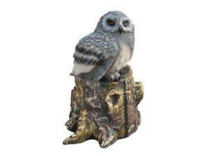Сова на пеньке маленькая, декоративная интерьерная фигура